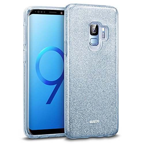 ESR Makeup Glitter Case Compatible for The Samsung Galaxy S9, Glitter Sparkle Bling Case Protective Cover [Three Layer][Supports Wireless Charging] for Galaxy S9 5.8 inch, Blue(Released in 2018)