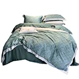 What Is a European King Size Bed LIU RUOXI Environmentally Series Ultra Soft 4-Piece Luxurious Leaf Printed Sheet Set - Tencel Cotton Fiber(Queen, King),Green,King220240Cm