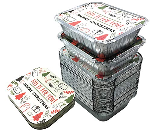 45 Pack - 1LB Christmas Treat Foil Containers I Aluminum Food Containers with Lids/Hollidays Cookies and Food Trays I Disposable Aluminum Pans/From Spare 1 Lb Capacity 5.9''x4.7''x1.9'' SMALL Size