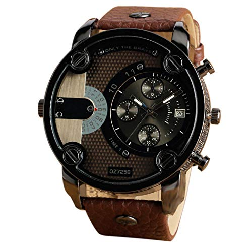 Adoeve Men Fashion Synthetic Leather Wristband Round Dial Quartz Watch Wrist Watches from Adoeve