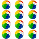 Rainbow Neon Inflatable Beach Ball - Pool Party Favor and Beach Toys | Competitive Sports and Fun | Indoor & Outdoor, Set of 12