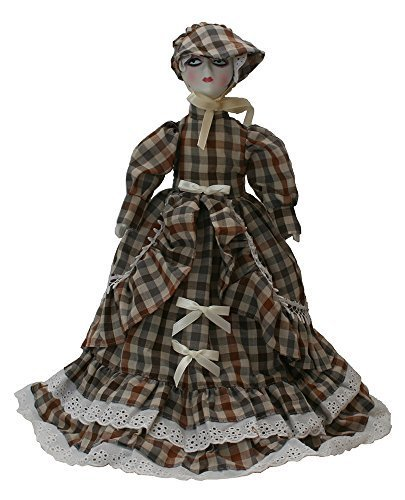 Victorian-styled Porcelain 12 Inches Doll with Plaid Gown and Hat. A Paper Cone Is Inside Lower Body Dress