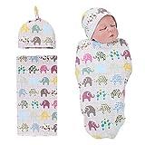 Newborn Receiving Blanket Headband Set Flower Print Babys Swaddle Receiving Blankets for Girls Boys