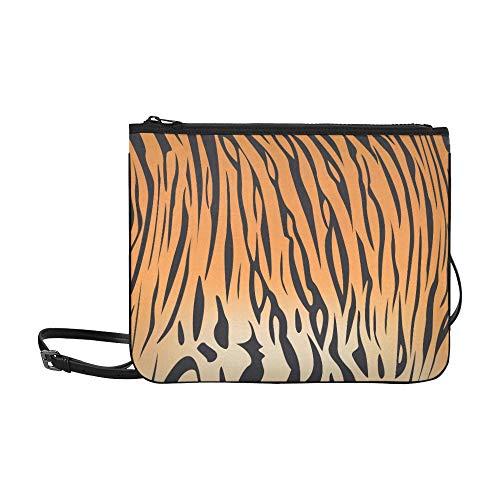 Vector Illustration Of Bengal Tiger Stripe Pattern Pattern Custom High-grade Nylon Slim Clutch Bag Cross-body Bag Shoulder Bag