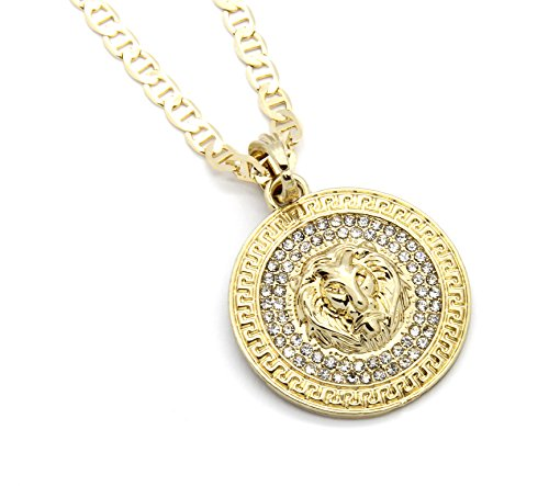 [Mens Medallion Pattern Lion Gold Tone 4mm 24