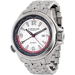 Stuhrling Original Men's 285.331156 Now Voyager Automatic World Time Silver Dial Watch