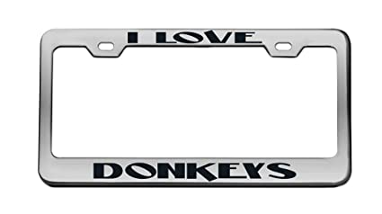 My Other Ride Is A Donkey Black Metal License Plate Frame Tag Holder