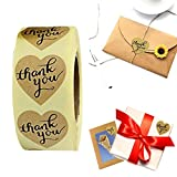 fasloyu 1 Inch Natural Heart/Round Shape Kraft Thank You Stickers Christmas Gift Tags Holiday Present Stickers - 500 Total Labels Per Roll (Heart Shape)