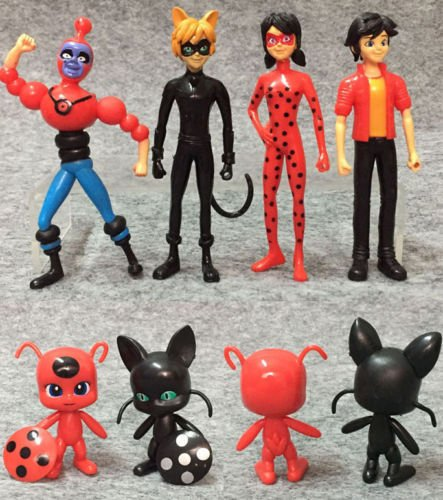 6pcs/Lot Miraculous Ladybug PVC Action Figure Adrien Noir Cat Doll Kids Toy Gift