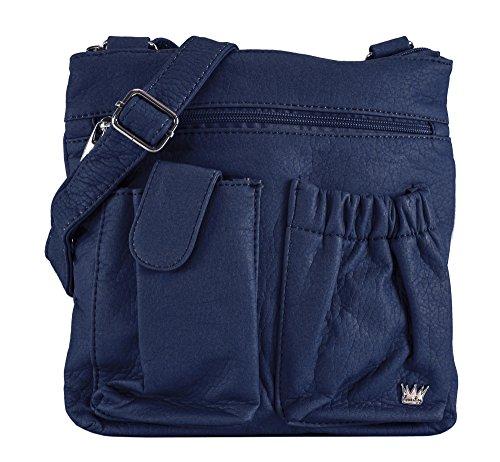 Poppy Dark RFID protected Bag Purse Navy King Organizer Shoulder H0xv5nW