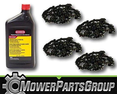 MowerPartsGroup P065 (4) Oregon 91PX062G 3/8 .050 62 DL 18'' Chainsaw Chain & 1QT Bar/Chain Oil