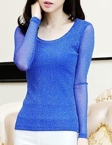 Mujer Camisa Blusa elegante mujer Blusa Mujer Camiseta de mujer Blusa rejilla manga larga cuello redondo, color azul, tamaño M: Amazon.es: Deportes y aire libre
