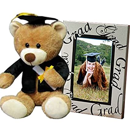 Graduation Gifts Set for Him or Her College or High School Student Grad - Picture Frame and Teddy Bear with Black Cap and Gown for Nursing School Teen Juniors Women 8th Grade Present Class of 2017