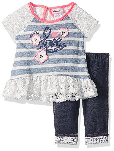 Little Lass Baby Girls' Toddler' 2 Pc Capri Set Slub Knit, Blue, -