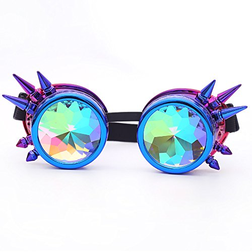 (LUCA Festivals Kaleidoscope Party Glasses for Raves EDM Goggles Diffraction Crystal Lenses(Purple,One Size))