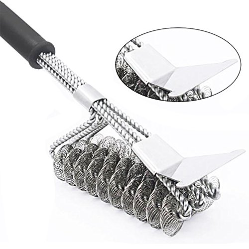 "Carejoy 18"" Grill Brush with Scraper 3 in 1 stainless steel BBQ Barbecue Grill Clean Brush Bristle Free Grill Brush for Charcoal Infrared or Gas Grill by Carejoy"