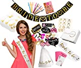 """Ultimate Bachelorette Party Decorations - Large 71 Piece Kit of Bridal Shower Supplies - """"Bride to Be"""" Banner, Veil, Sash; 10 Balloons, 18 Tattoos; 10 Funny Straws; 28 Photo Props; 2 Party Games"""