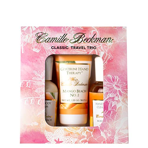 - Camille Beckman Classic Collection Travel Trios, Mango Beach No. 2, Glycerine Hand Therapy 1.35 oz, Silky Body Cream 2 oz, Hand & Shower Cleansing Gel 2 oz