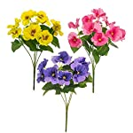 MARJON-FlowersSet-of-3-Artificial-Silk-Pansy-Bushes-Yellow