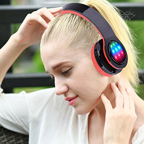 Ecandy Bluetooth Headphones w/Led Wireless/Wired Stereo Music Foldable Over-ear Hifi Sound With Microphones Hands-free Handsfree Calling for Iphone 6 6S Plus Samsung,Android Smartphone,Tablet (Red)