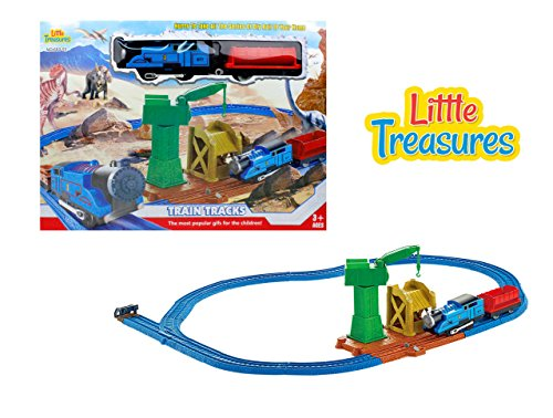 Dinosaur series electric train toy with light sound and tracks - ride the steam engines mining path, stop by the crane and get loaded up for your journey - great gift set for boys and girls