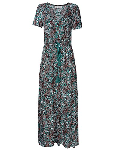 Womens Split Flowy Floral Print Maxi Dress Boho Long Dress with Sleeve (M, (Plus Size For Young Adults)