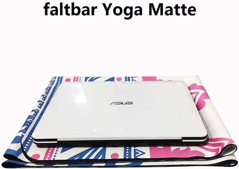 YISHU Mandala Tapis de Yoga Fin et l/éger Pliable Antid/érapant Caoutchouc Naturel Travel Fitness Gymnastique Outdoor Sport 180 x 68 cm