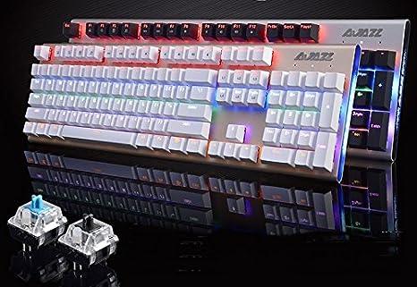 Original Ajazz Ak40 Rgb 104 Keys Mechanical Gaming Keyboard Suspended Keycap Rainbow Backlight Antighosting Blue Black Switch Blue Switch White Amazon Ca Musical Instruments Stage Studio