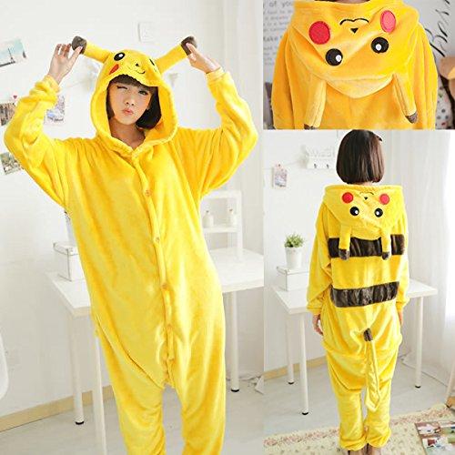 [SOKO2U Pikachu Onesie Unisex Adult Cosplay Costume Pajamas (Medium)] (Pokemon Costumes Adults)
