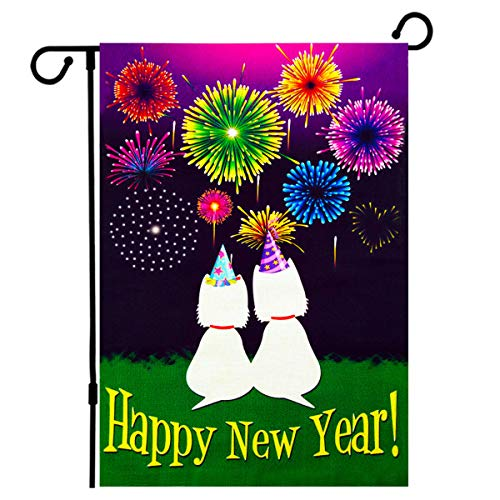 (De Lon Happy New Year Flag, Cute Cat Happy New Year Garden Flag, 12.5x18 Inch Happy New Year Garden Flag, Double Linen Fabric, Happy New Year Flag Decorate Your)