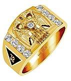 14K Yellow or White Gold Masonic Freemason Mason Scottish Rite Solid Back Ring