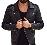 Aries Leathers Men's Real Lambskin Leather Genuine Motorcycle Jacket MJ300 (L, Black)