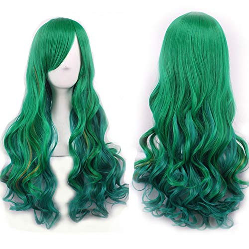 YuYe Natural Hairpiece Women Gradient Green Long Curly Wig Fluffy for Cosplay Party - M187 for $<!--$9.36-->