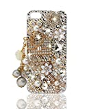 NOVA CASE ® Glamour Series 3D Bling Crystal iPhone Case for iPhone 5/5S - Floral Coco Bag (Package includes: soft pouch, screen protector, extra crystals)