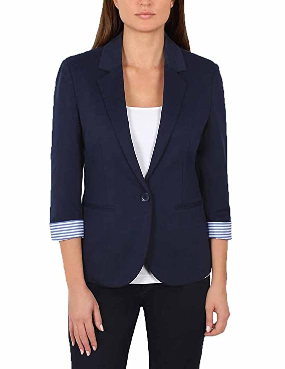 Nicole Miller Ladies' Knit Blazer (M, Blue) best women's blazers