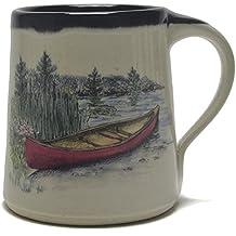 Great Bay Pottery Red Canoe Coffee Mug