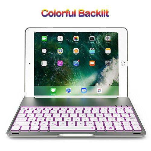 Keyboard Case for 2017 iPad 9.7 / iPad Air, Bluetooth Folio Hard Back Cover / Aluminum Keyboard base with Auto Sleep / Wake -Ultra Slim, 7 Colors Backlit (Silver)