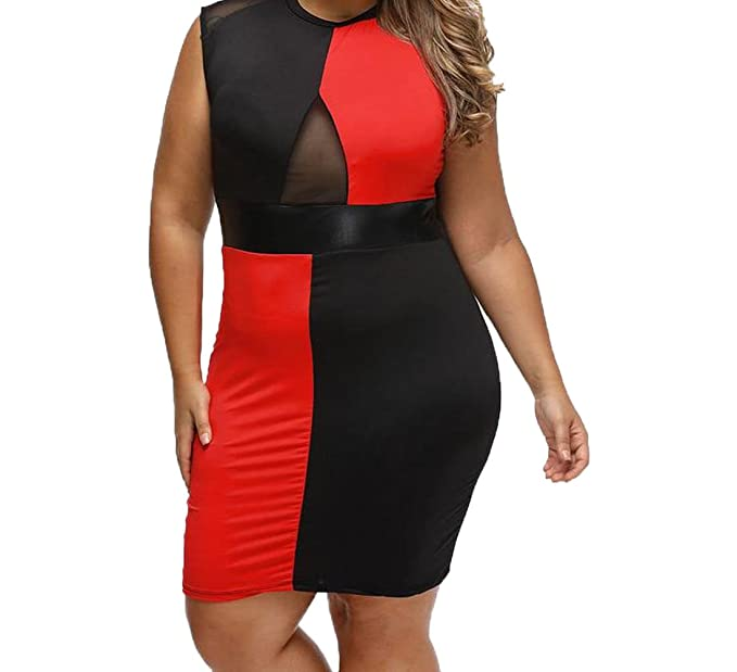 813676a670d Image Unavailable. Image not available for. Color  MLG Womens Sexy Hit  Color Plus Size Club Dresses Party ...