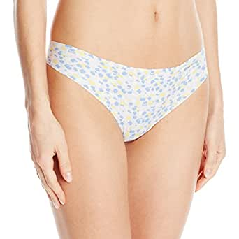 Calvin Klein Women's Invisibles Printed Thong Panty, Argil Floral Print, Small