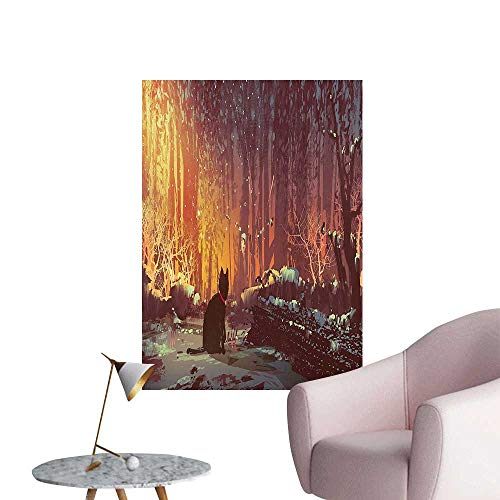 - Modern Decor Surreal Lost Black Cat Deep Dark in Forest with Mystic Lights Picture Ideal Kids Decor or Adults,20