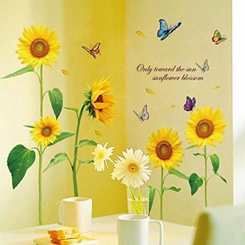 Mf@sunshine Bellasam Blossom Sunflower Dancing Butterfly in Summer Beautiful Removable Wall Stickers DIY Kid's Child Room Decor Decal - Dancing In The Summer