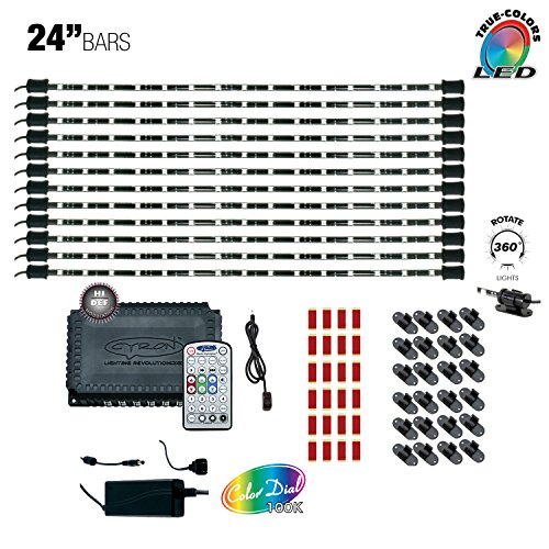 Cyron RGB LED Under Counter Cabinet Dimmable Multicolor Light TV Kitchen Accent Lighting Kit, Hi Def Series Controller, 360 Degrees Rotatable, 12 x 24 Inch LED Light Bars