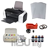 INTBUYING Sublimation Epson C88 Printer CISS Ink System 4bottles Sublimation Ink A4 Paper Tape KIT