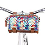 Po Campo Kinga Handlebar Bike Bag Purse | Front Bicycle Bag That Converts to a Crossbody Bag | Weatherproof Water Resistant | Mosaic