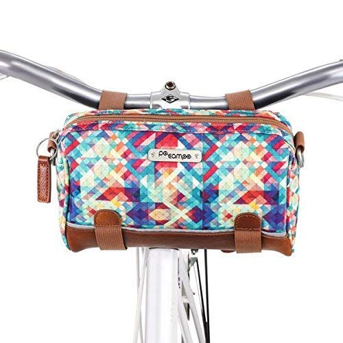 Po Campo Kinga Handlebar Bike Bag Purse | Front Bicycle Bag That Converts to a Crossbody Bag | Weatherproof Water Resistant | Mosaic