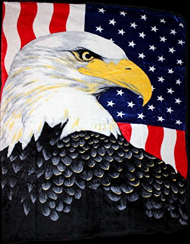 USA American Flag Bald Eagle Full/Queen Mink Throw Blanket
