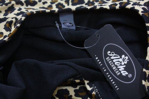 Rockabilly Pin Up Aloha-Ropa de playa para mujer de la vendimia diseño de Leo look Bañador A3059 leopardo