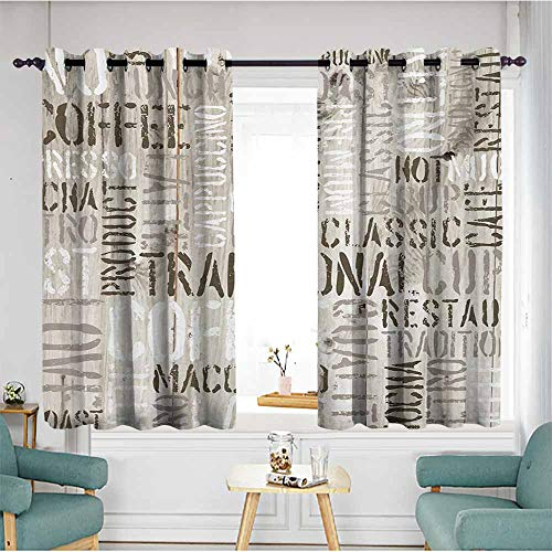Custom Curtains,Modern Wooden Background with Coffee Phrase Espresso Hot Chocolate Cappuccino Design,for Bedroom Grommet Drapes,W55x63L,Beige Army Green