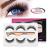MAANGE 3 Styles Fake Eyelashes Handmade 3D & 5D False Eyelashes Reusable Eyelashes for Natural Look with Rose Golden Lash Applicator - 3 Pairs
