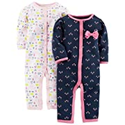 Simple Joys by Carter's Baby Girls' 2-Pack Cotton Footless Sleep and Play, Elephant/Flowers Without Cuffs, 0-3 Months